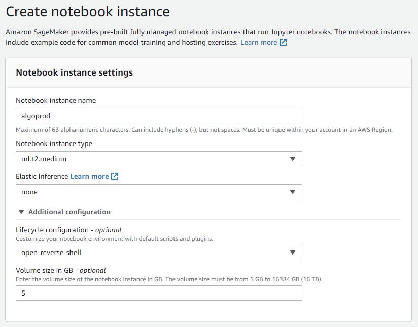 create notebook instance